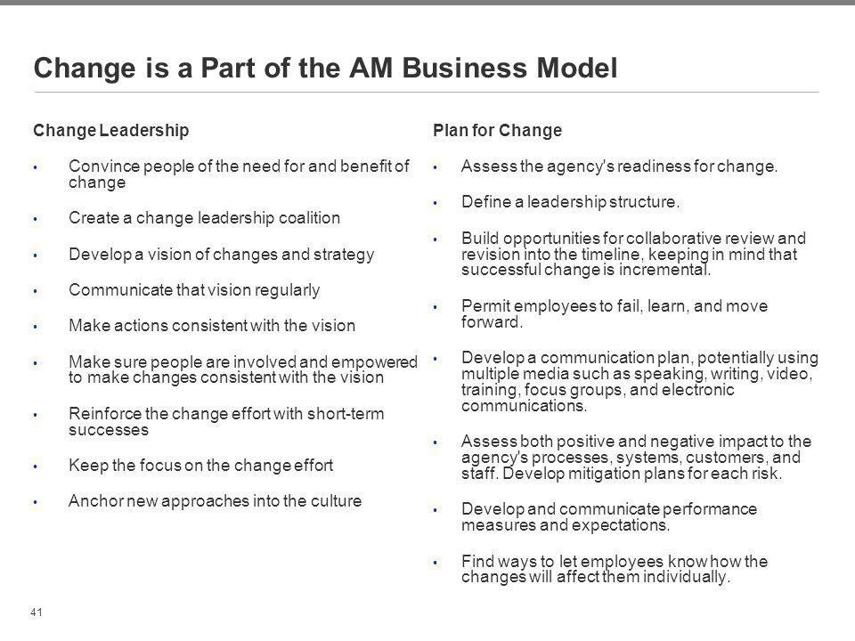 Change is a Part of the AM Business Model