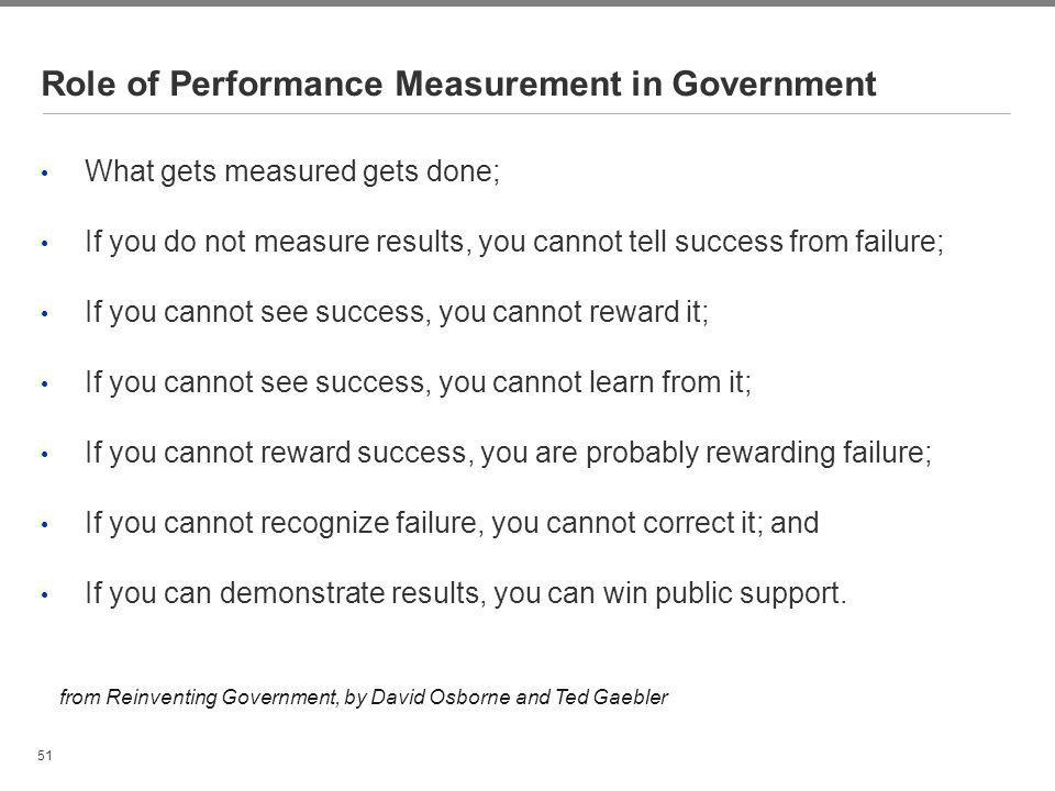 Role of Performance Measurement in Government