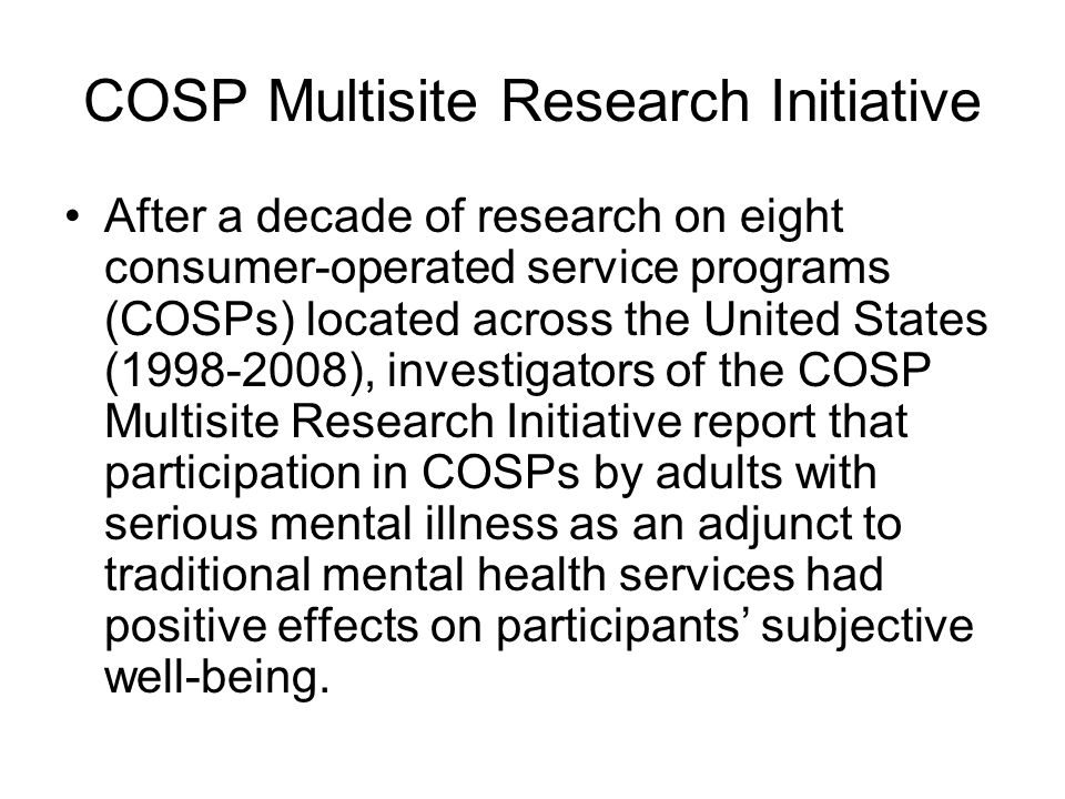 COSP Multisite Research Initiative