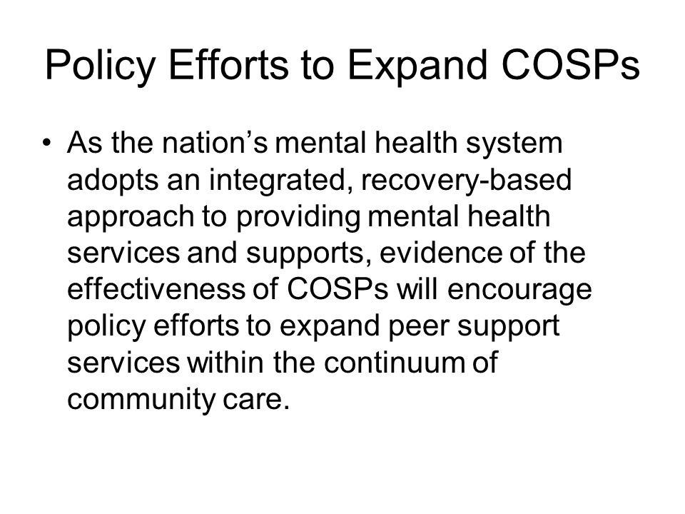 Policy Efforts to Expand COSPs