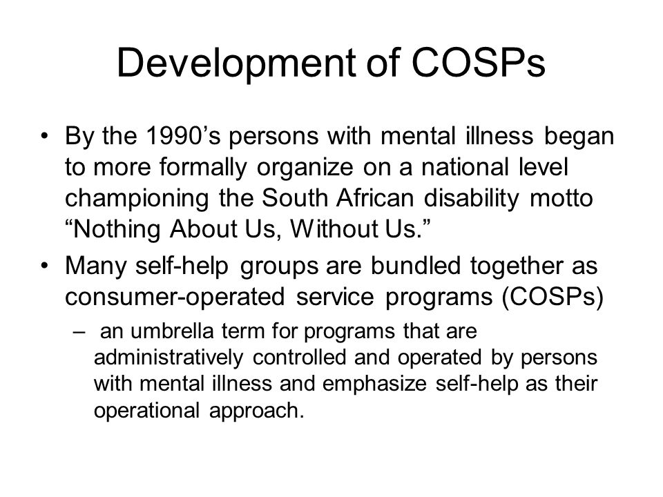 Development of COSPs