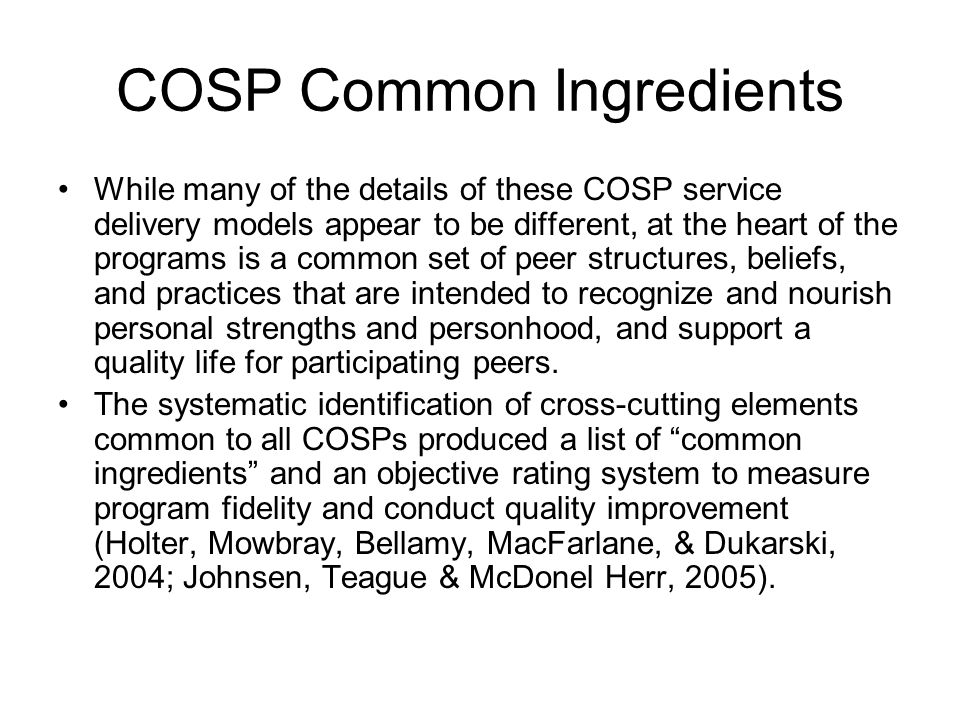 COSP Common Ingredients