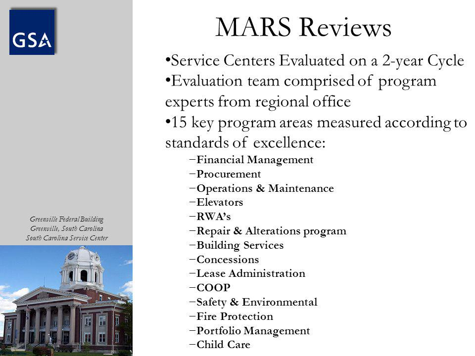 MARS Reviews Service Centers Evaluated on a 2-year Cycle