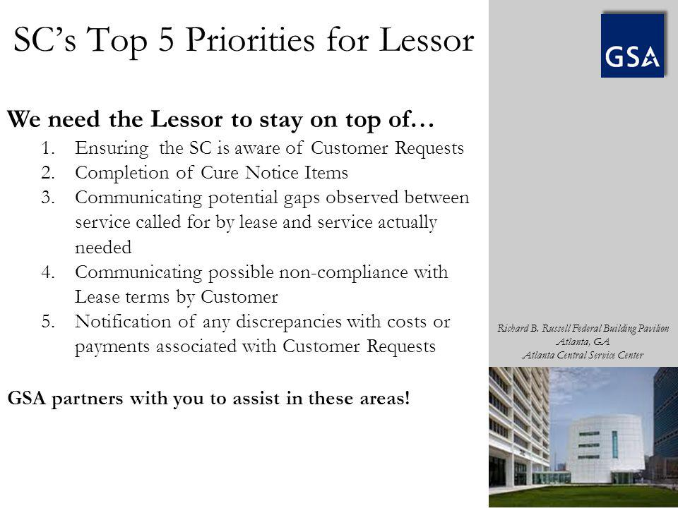 SC's Top 5 Priorities for Lessor