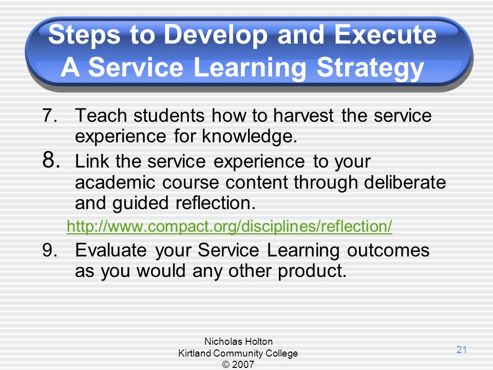 Steps to Develop and Execute A Service Learning Strategy