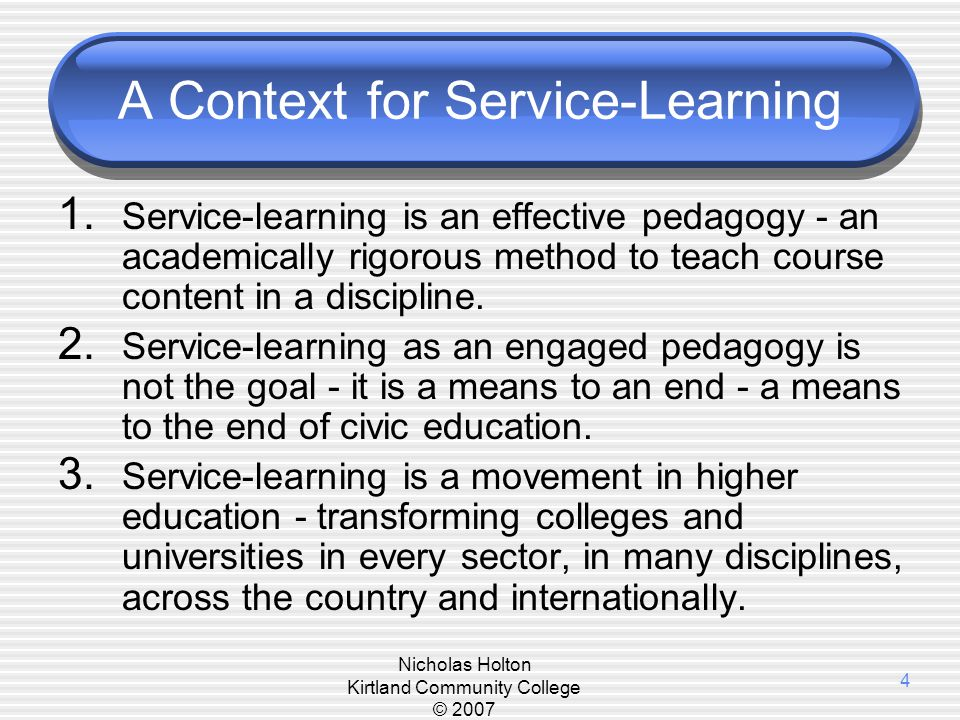 Definition of Service Learning