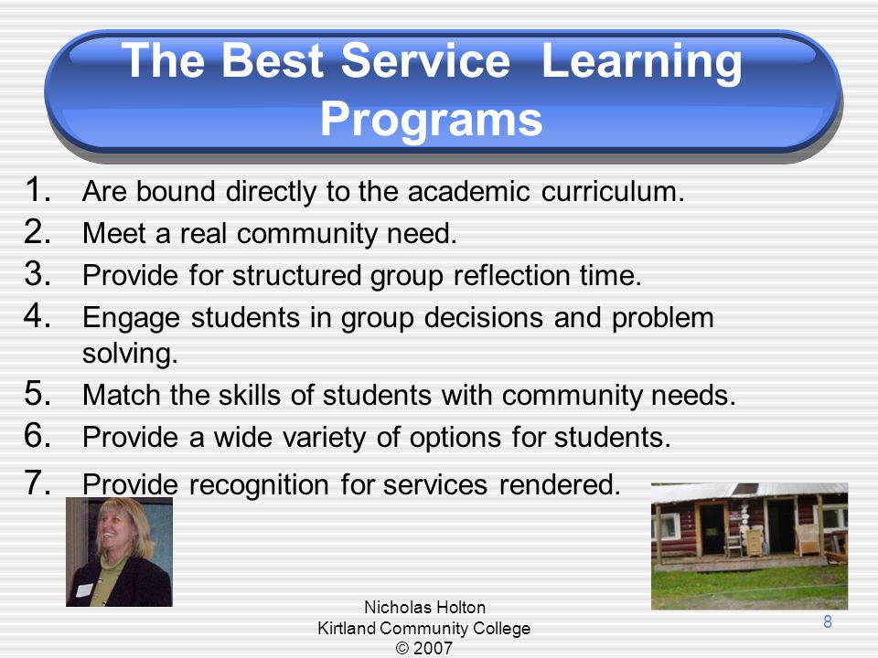 Benefits of Service Learning Community: