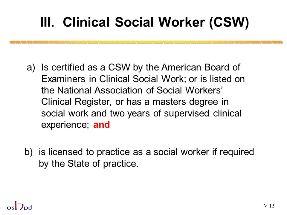 III. Clinical Social Worker (CSW)