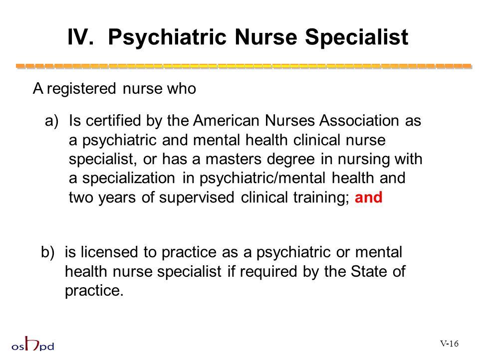 IV. Psychiatric Nurse Specialist