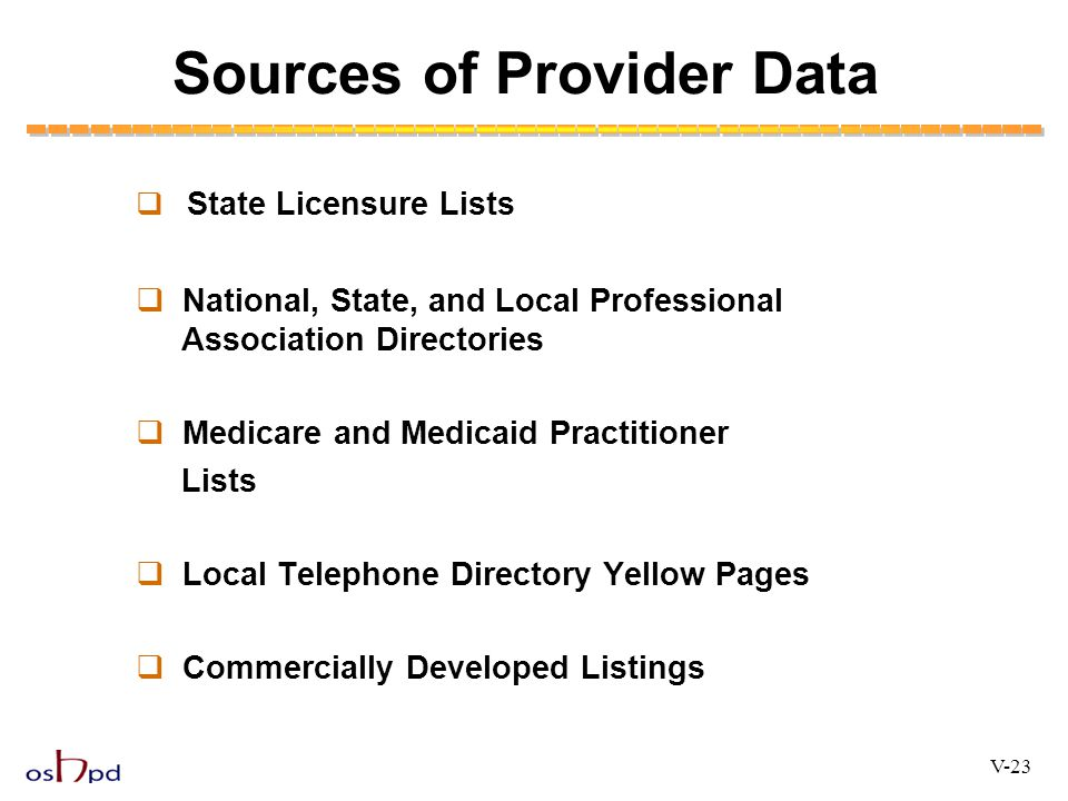 Sources of Provider Data