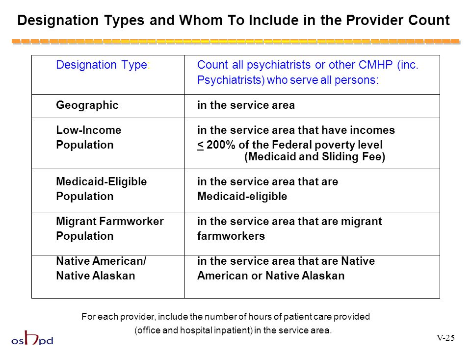 Designation Types and Whom To Include in the Provider Count