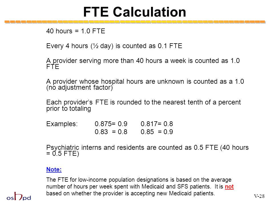 FTE Calculation 40 hours = 1.0 FTE