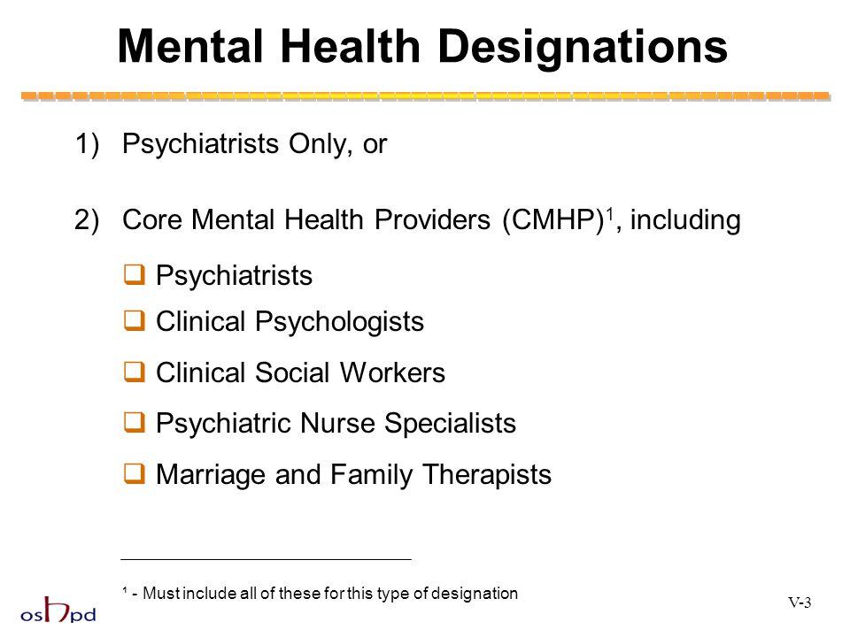 Mental Health Designations