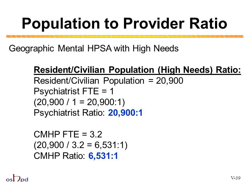 Population to Provider Ratio