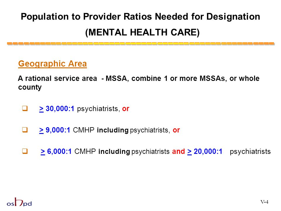 Population to Provider Ratios Needed for Designation (MENTAL HEALTH CARE)