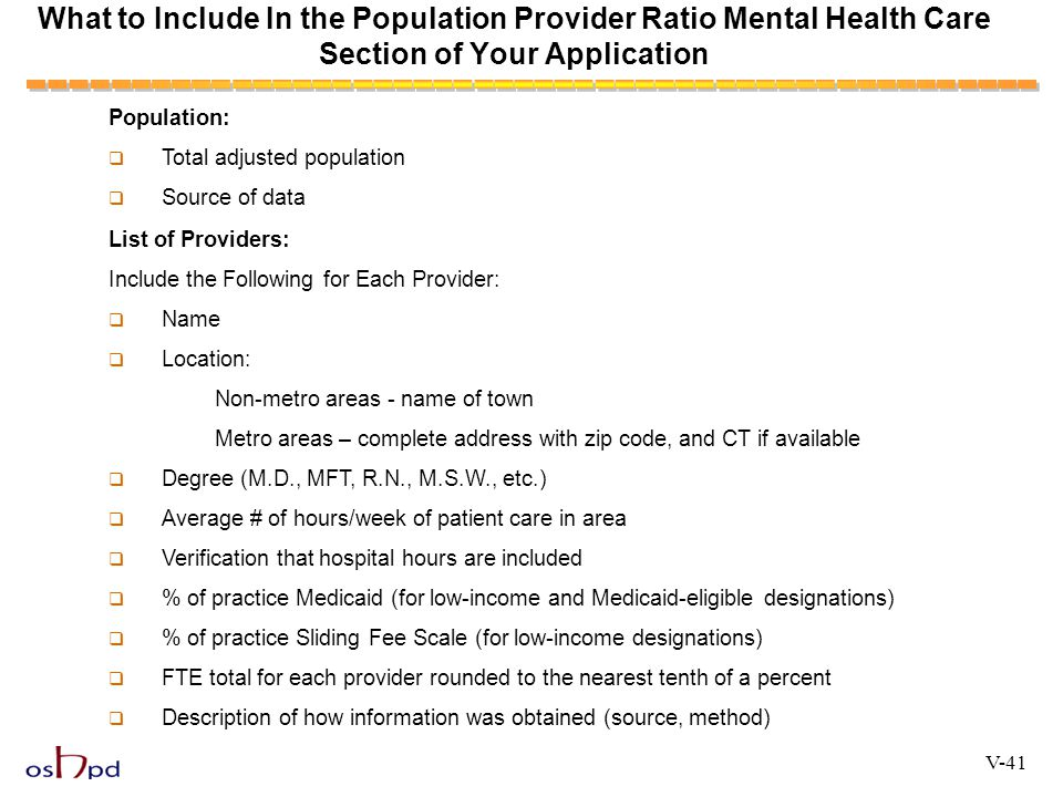 What to Include In the Population Provider Ratio Mental Health Care Section of Your Application