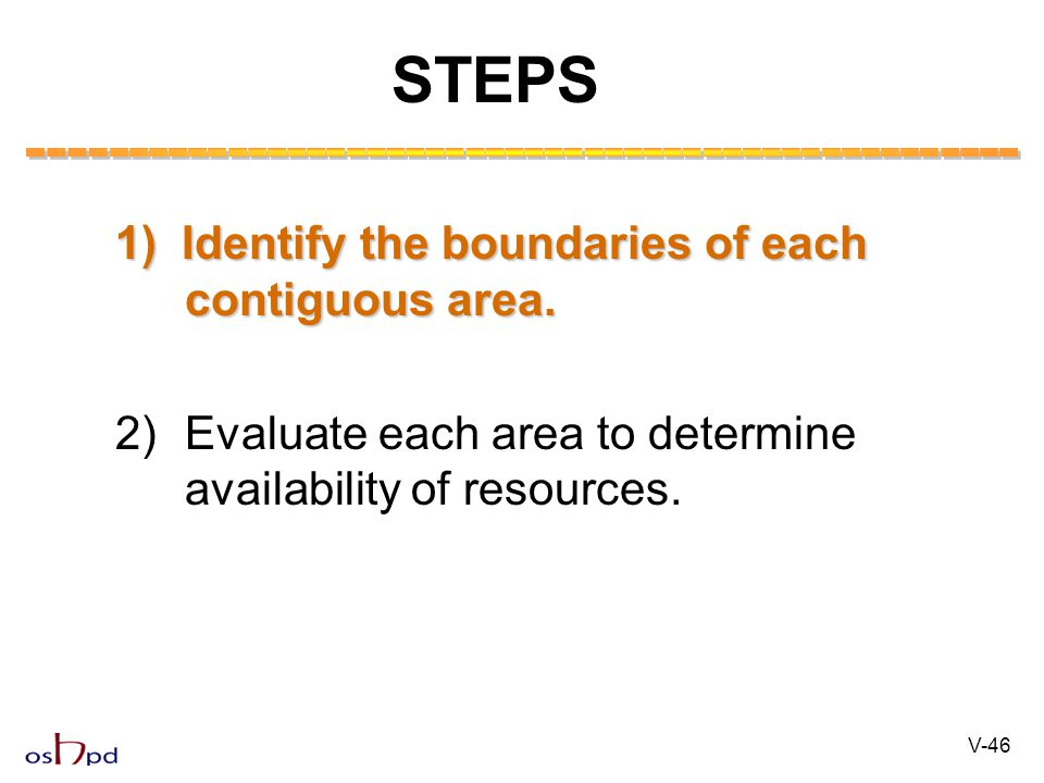 1) Identify the boundaries of each contiguous area.