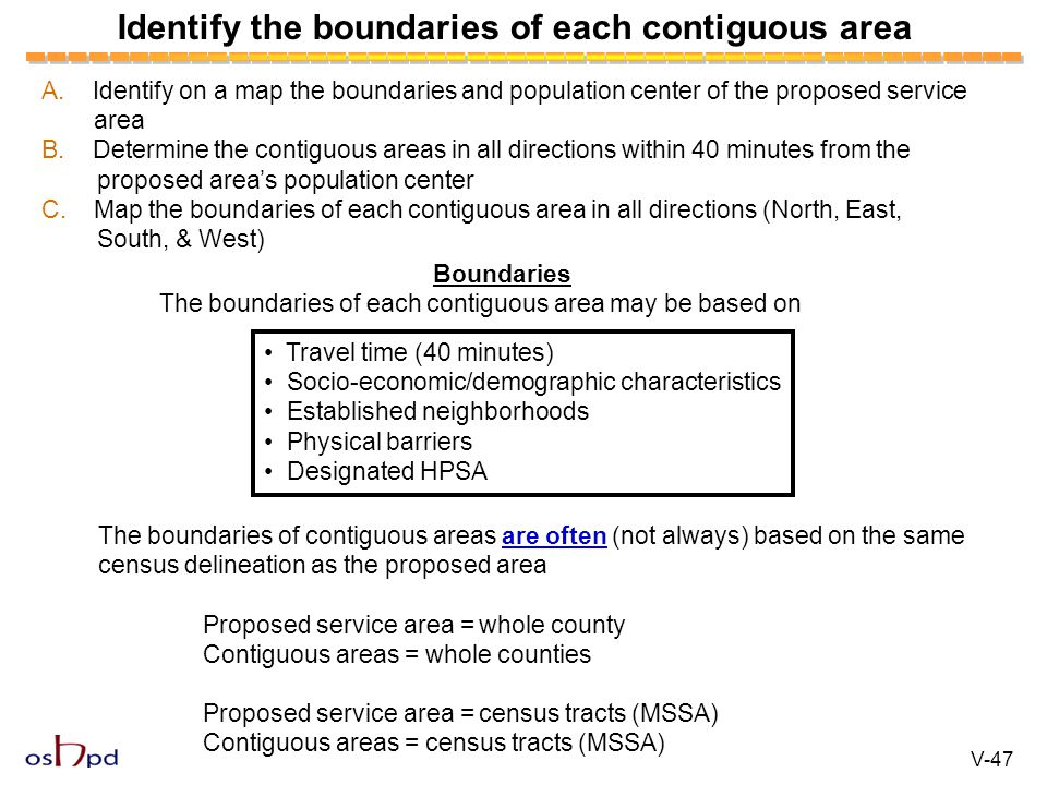 Identify the boundaries of each contiguous area