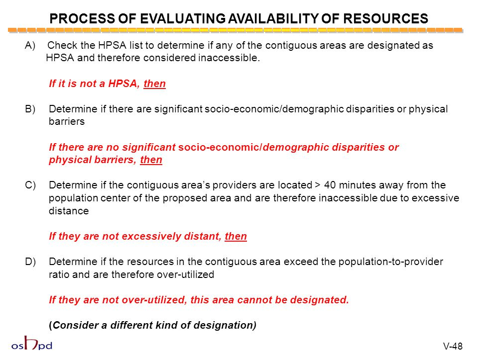 PROCESS OF EVALUATING AVAILABILITY OF RESOURCES