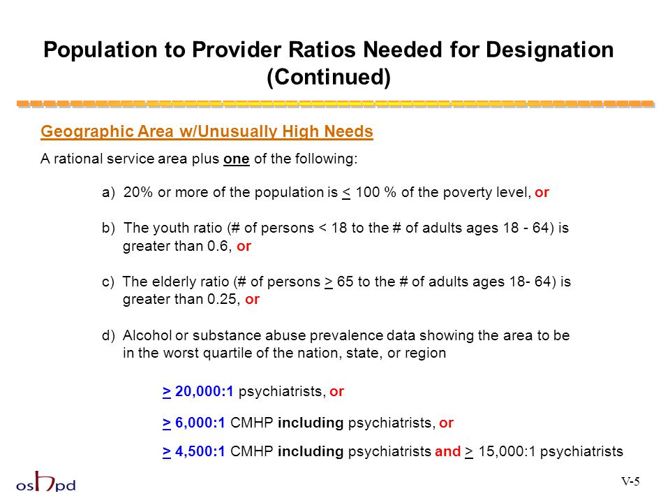 Population to Provider Ratios Needed for Designation (Continued)