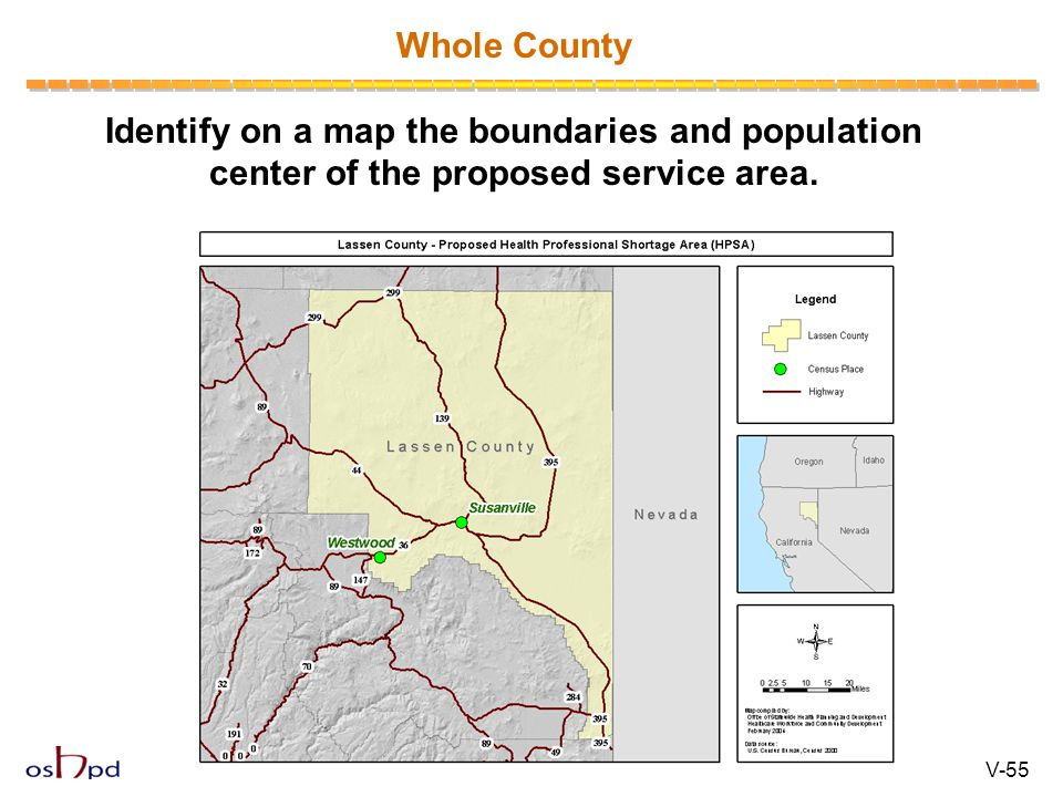 Identify on a map the boundaries and population