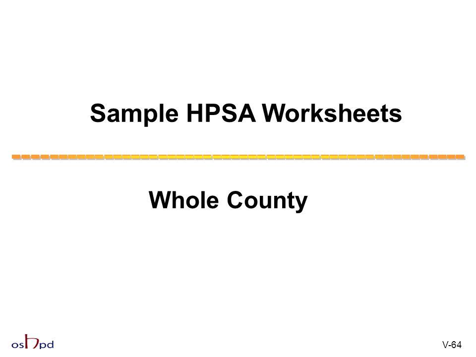 Sample HPSA Worksheets