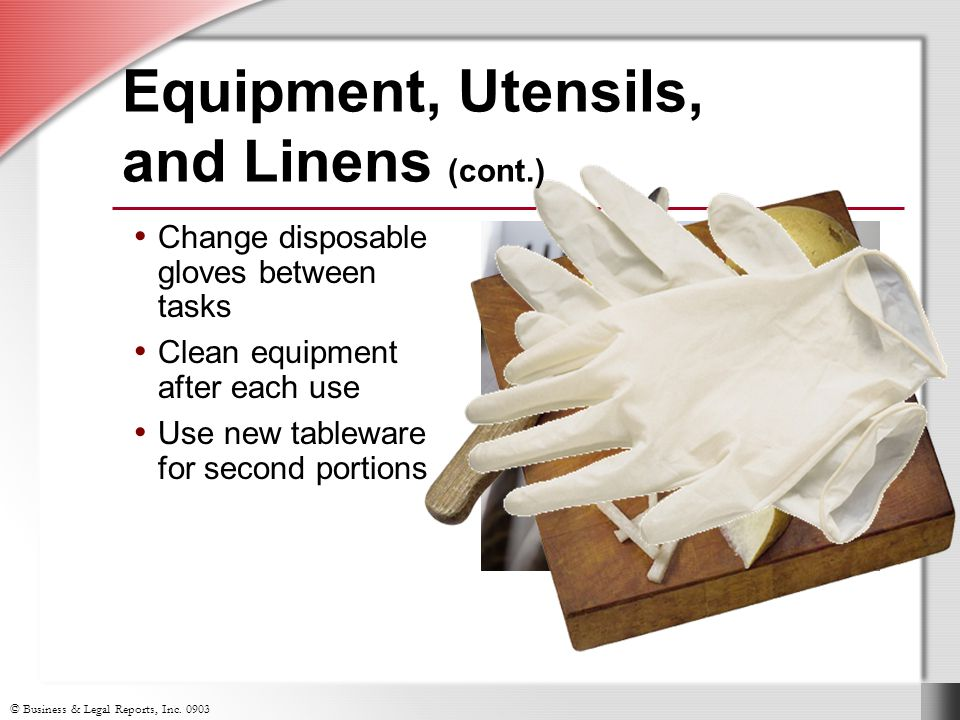 Equipment, Utensils, and Linens (cont.)