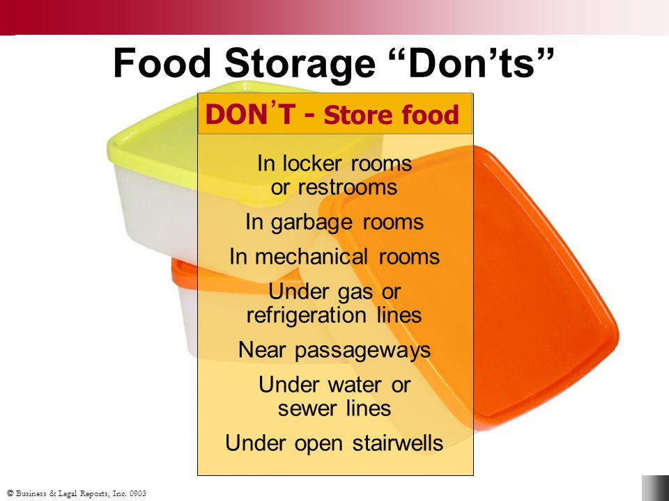 Food Storage Don'ts DON᾽T - Store food In locker rooms or restrooms