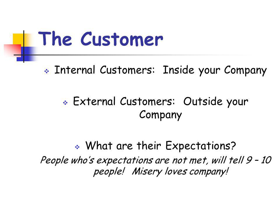The Customer Internal Customers: Inside your Company