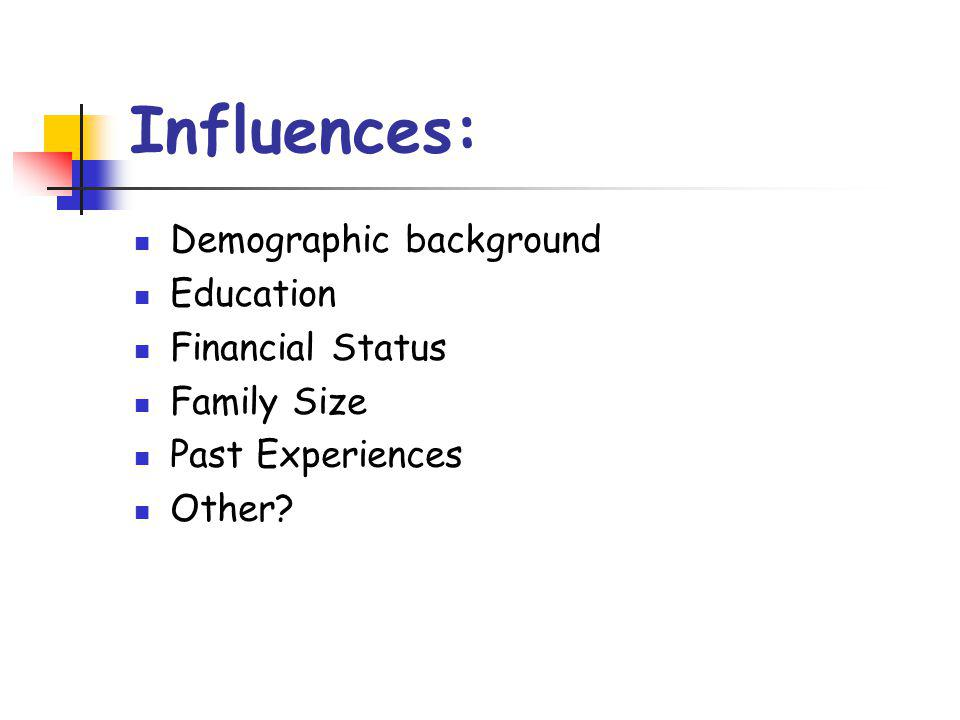 Influences: Demographic background Education Financial Status