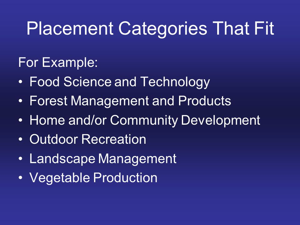 Placement Categories That Fit