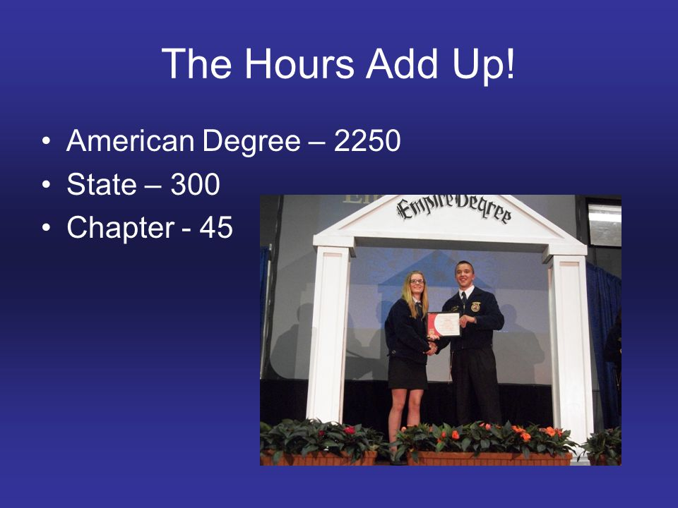 The Hours Add Up! American Degree – 2250 State – 300 Chapter - 45