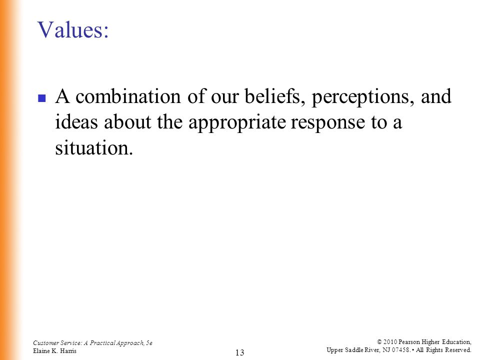 Values: A combination of our beliefs, perceptions, and ideas about the appropriate response to a situation.