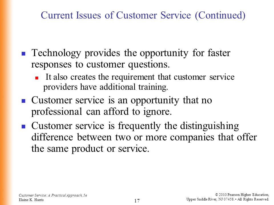 Current Issues of Customer Service (Continued)