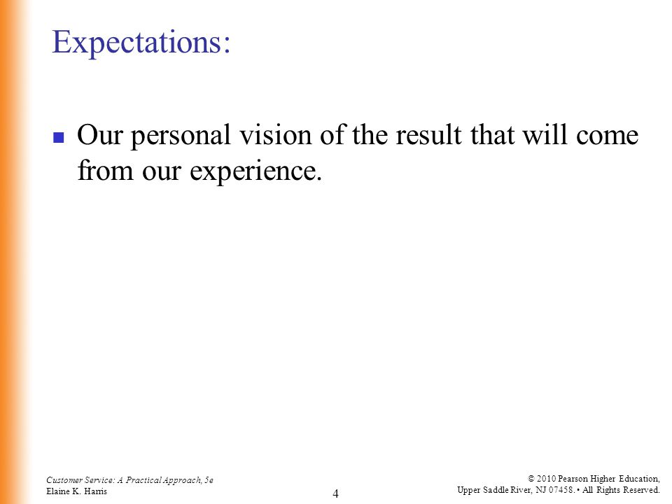 Expectations: Our personal vision of the result that will come from our experience.
