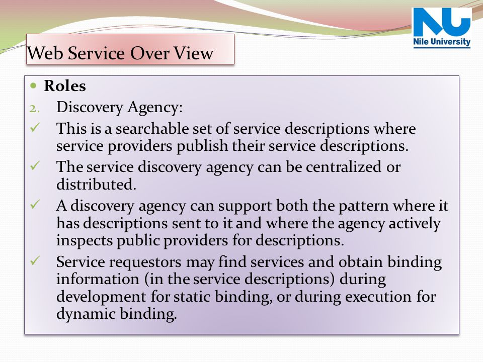 Web Service Over View Roles Discovery Agency: