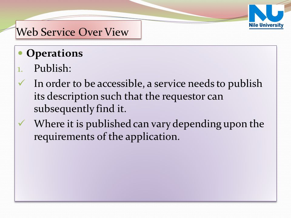Web Service Over View Operations Publish: