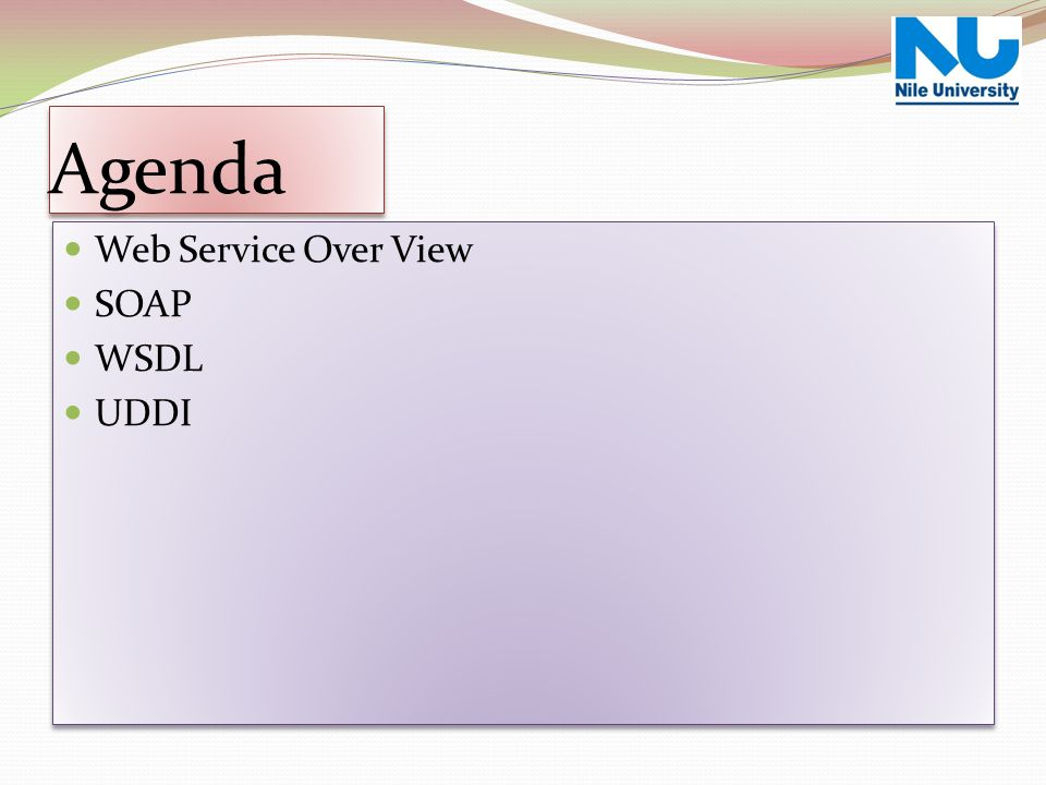 Web Service Over View Agenda Web Service Over View SOAP WSDL UDDI