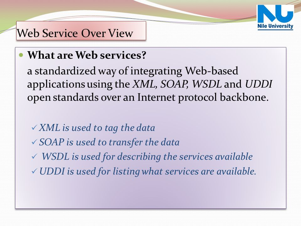 Web Service Over View What are Web services