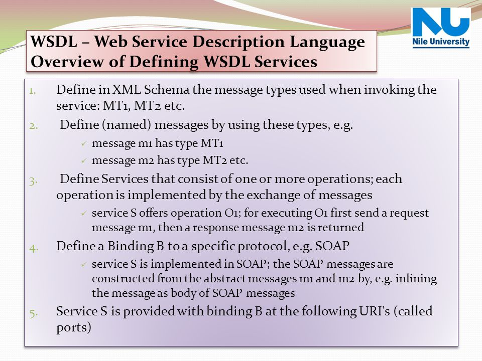 Web Service Over View WSDL – Web Service Description Language Overview of Defining WSDL Services.
