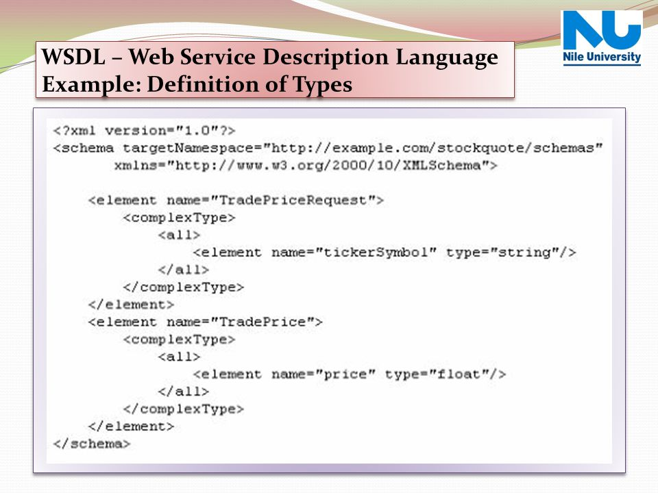 WSDL – Web Service Description Language Example: Definition of Types