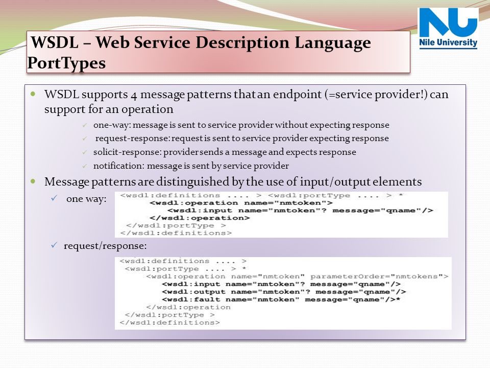 WSDL – Web Service Description Language PortTypes
