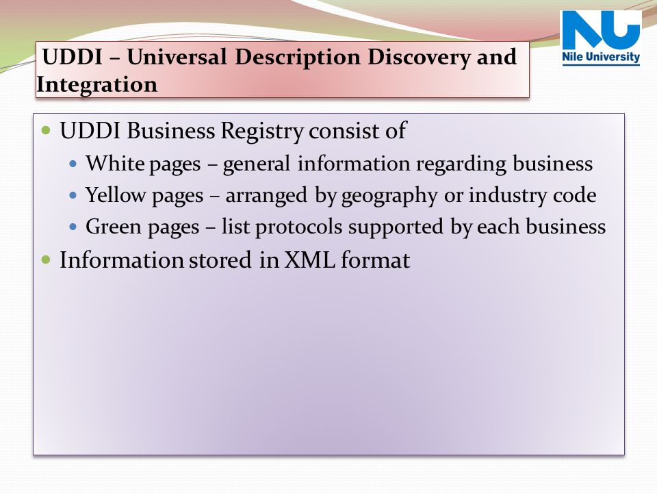 UDDI – Universal Description Discovery and Integration