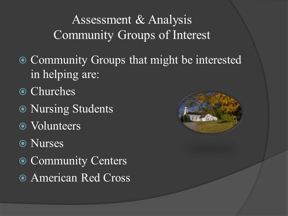 Assessment & Analysis Community Groups of Interest