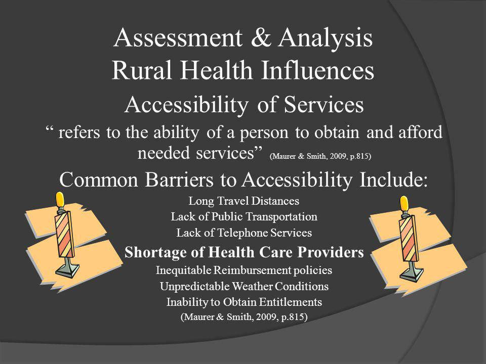 Assessment & Analysis Rural Health Influences