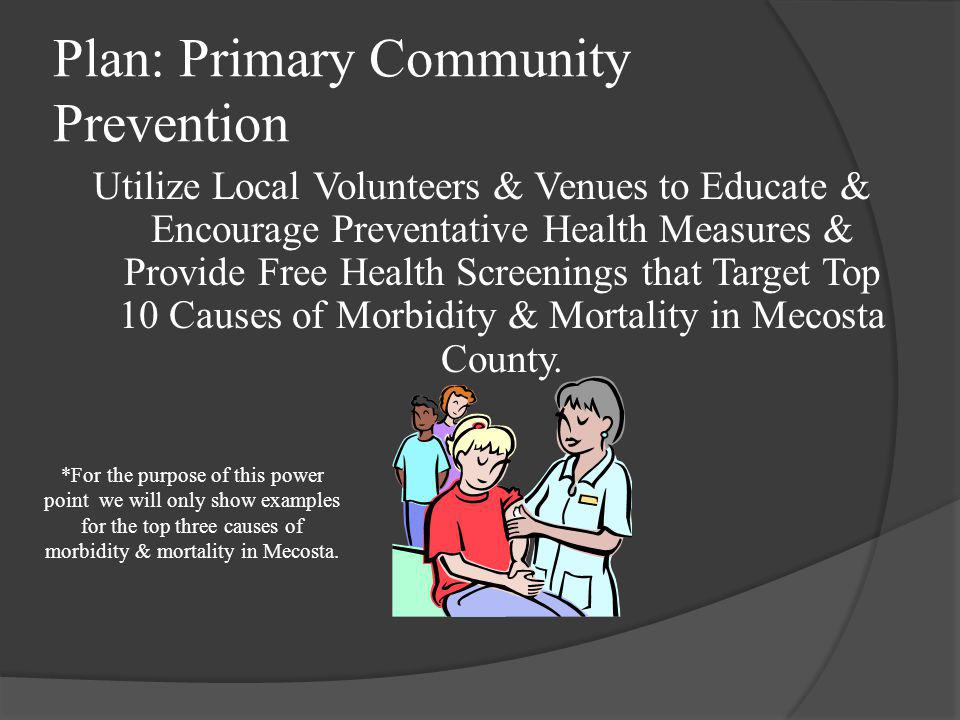 Plan: Primary Community Prevention