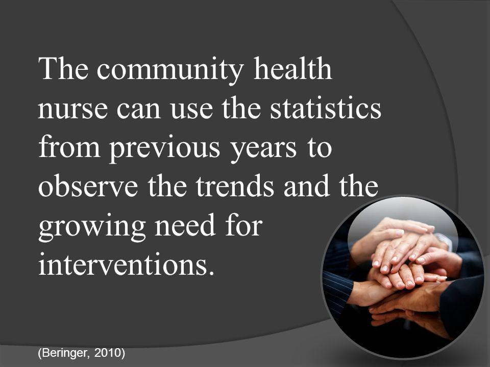 The community health nurse can use the statistics from previous years to observe the trends and the growing need for interventions.