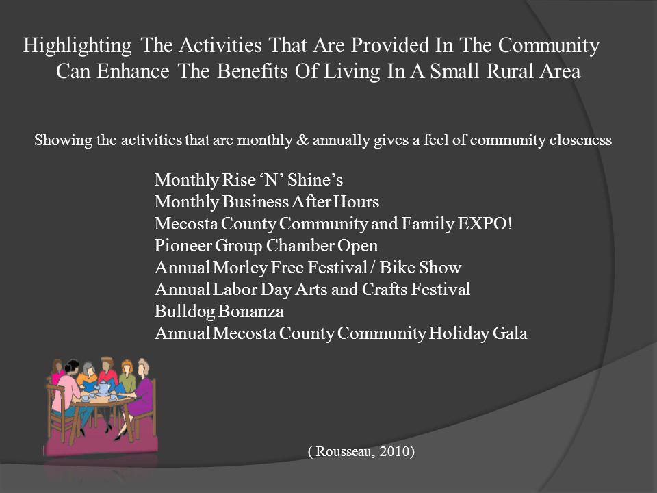 Highlighting The Activities That Are Provided In The Community