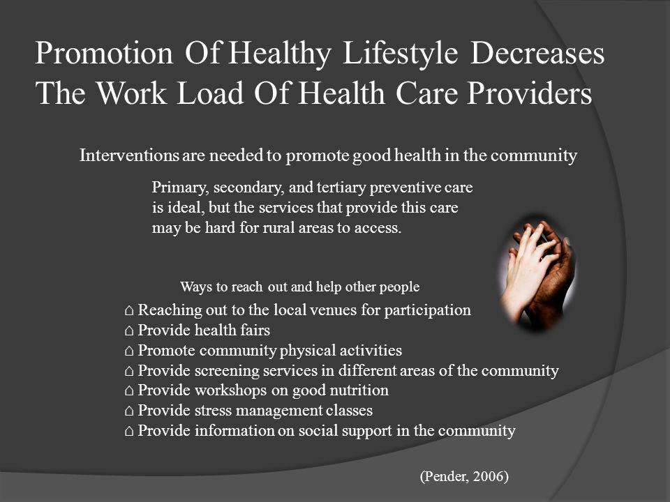 Promotion Of Healthy Lifestyle Decreases The Work Load Of Health Care Providers
