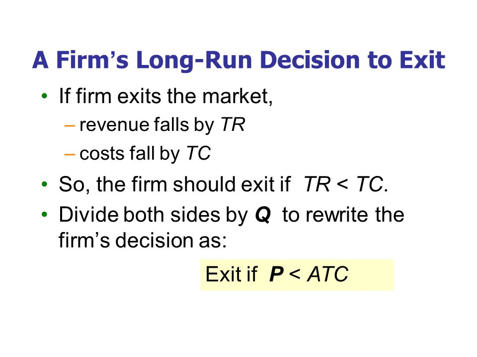 A New Firm's Decision to Enter the Market